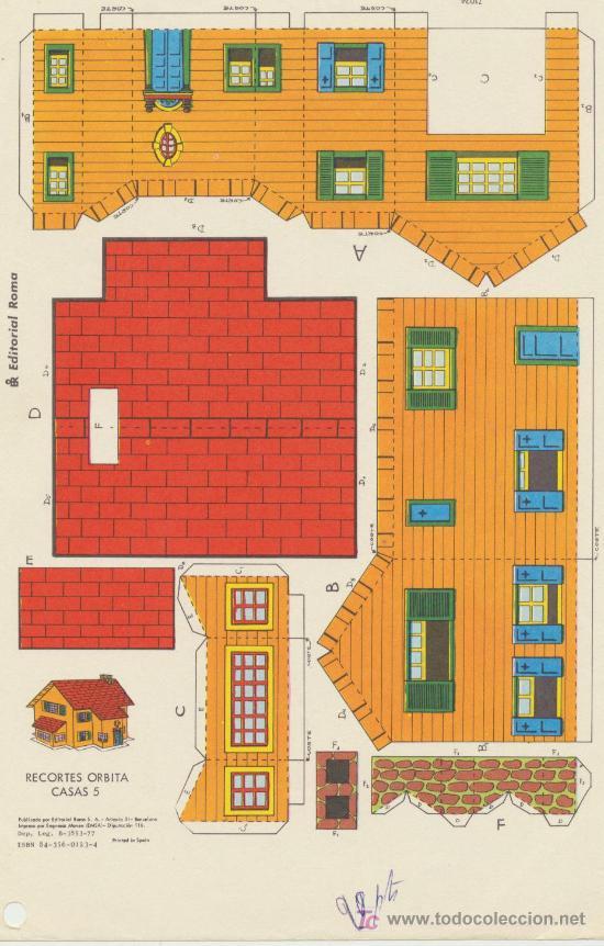 RECORTES ORBITA (17,5X26) CASAS Nº 5. EDITORIAL ROMA. (Coleccionismo - Recortables - Construcciones)
