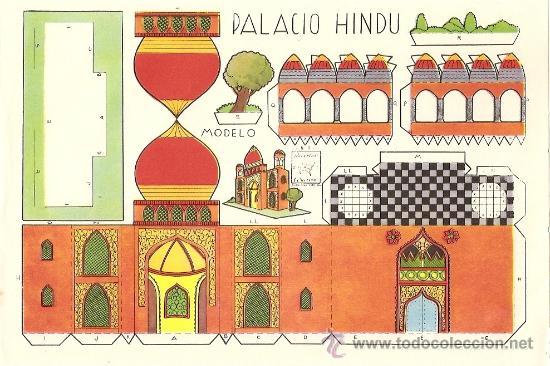 PALACIO HINDU - RECORTES AZUCENA - TAMAÑO HOJA 25 X 17 CM. (Coleccionismo - Recortables - Construcciones)