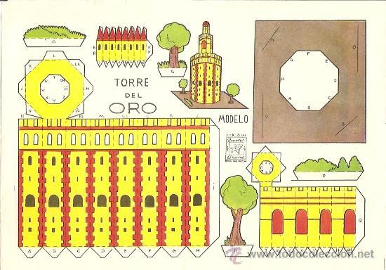 TORRE DEL ORO - RECORTES AZUCENA - TAMAÑO HOJA 25 X 17 CM. (Coleccionismo - Recortables - Construcciones)