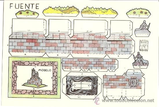 FUENTE - RECORTES AZUCENA - TAMAÑO HOJA 25 X 17 CM. (Coleccionismo - Recortables - Construcciones)