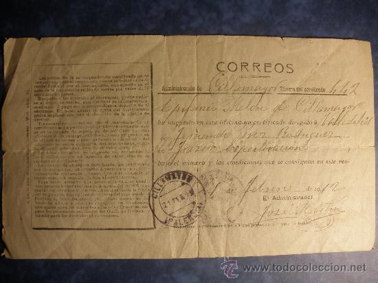 CERTIFICADO DE CONCESION DE CORREOS DEL AÑO 1912. (PALENCIA). (Coleccionismo - Recortables - Construcciones)