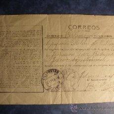 Coleccionismo Recortables: CERTIFICADO DE CONCESION DE CORREOS DEL AÑO 1912. (PALENCIA).. Lote 27080519