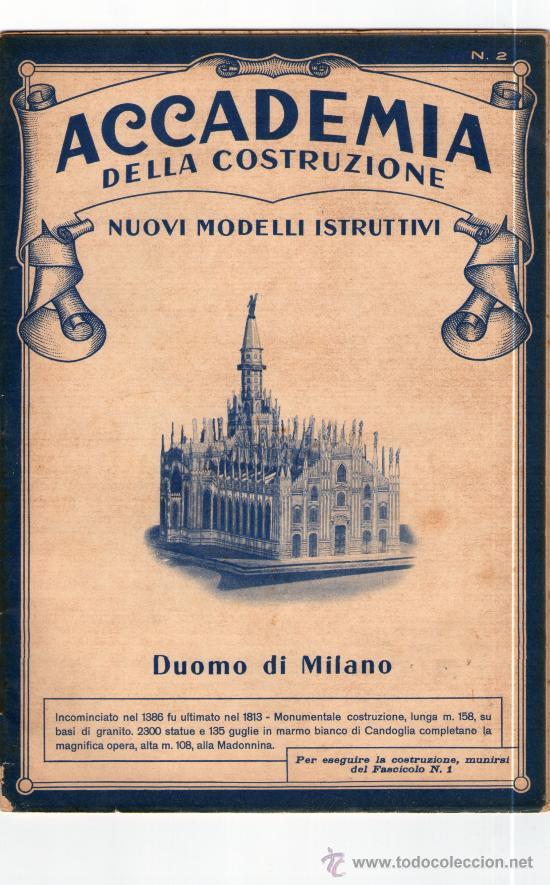 RECORTABLE ACCADEMIA DELLA COSTRUZIONE. DUOMO DI MILANO. SOLO 2ª PARTE. (Coleccionismo - Recortables - Construcciones)
