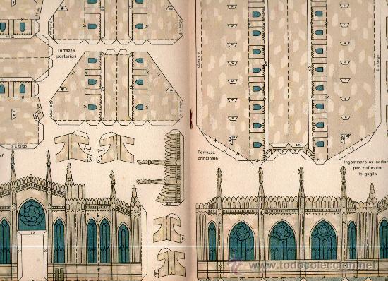 Coleccionismo Recortables: Recortable Accademia della costruzione. Duomo di Milano. Solo 2ª parte. - Foto 2 - 63293631
