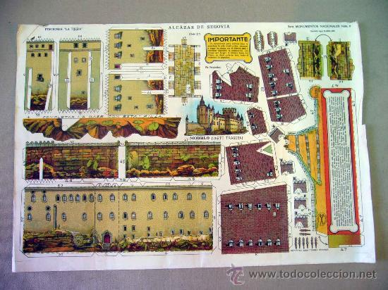 RECORTABLE, EL ALCAZAR DE SEGOVIA, SERIE MONUMENTOS NACIONALES Nº 6, EDICIONES LA TIJERA, HOJA Nº 2 (Coleccionismo - Recortables - Construcciones)