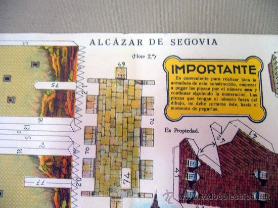 Coleccionismo Recortables: RECORTABLE, EL ALCAZAR DE SEGOVIA, SERIE MONUMENTOS NACIONALES Nº 6, EDICIONES LA TIJERA, HOJA Nº 2 - Foto 2 - 29136196