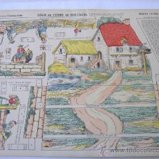 Coleccionismo Recortables: IMAGERIE D'EPINAL ,MOYENNES CONSTRUCYIONS Nº950,COUR DE FERME EN BRETAGNE 30X40 CM. Lote 31586834