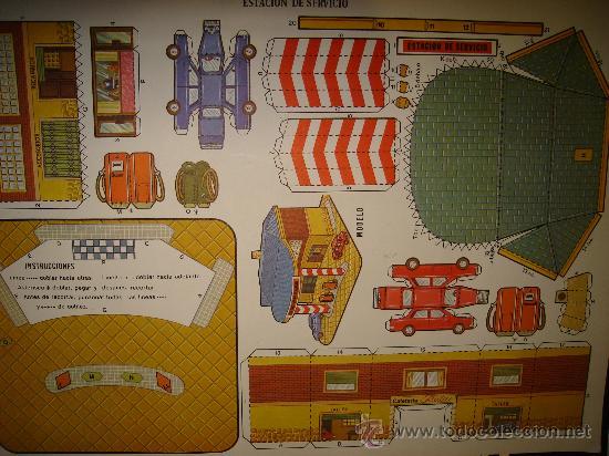RECORTABLE, ESTACIÓN DE SERVICIO, MODELO E INSTRUCCIONES, 34 POR 24CM (Coleccionismo - Recortables - Construcciones)