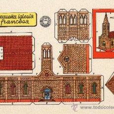 Coleccionismo Recortables: LÁMINA ORIGINAL DE RECORTABLES - PEQUEÑA IGLESIA FRANCESA - RECORTABLES BRUGUERA - AÑOS 50.. Lote 154942504