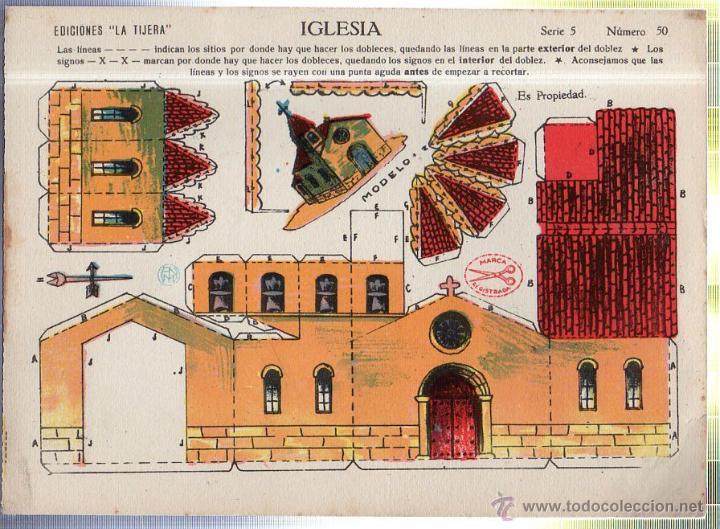 RECORTABLE DE LA IGLESIA. SERIE 5 - Nº 50. EDICIONES LA TIJERA. (Coleccionismo - Recortables - Construcciones)