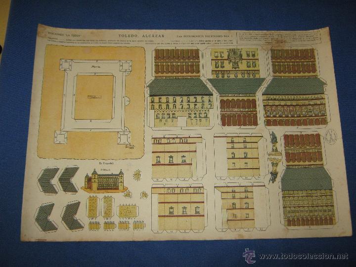 ANTIGUO RECORTABLE - EDICIONES LA TIJERA - SERIE MONUMENTOS Nº 1 - ALCAZAR DE TOLEDO (Coleccionismo - Recortables - Construcciones)