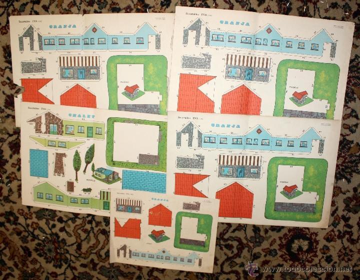 RECORTABLES EVA. LOTE DE 7. AÑO 1965. GRANJA, CASA DE CAMPO Y CHALET (Coleccionismo - Recortables - Construcciones)