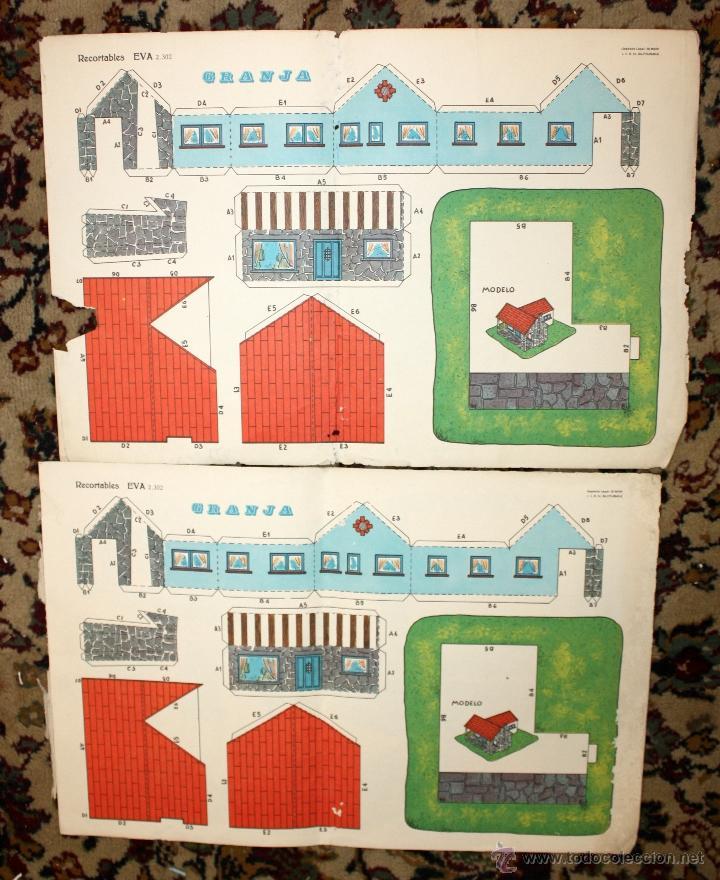 Coleccionismo Recortables: RECORTABLES EVA. LOTE DE 7. AÑO 1965. GRANJA, CASA DE CAMPO Y CHALET - Foto 5 - 45634580