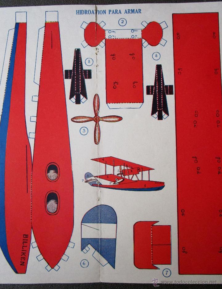 Coleccionismo Recortables: Antigua y original hoja recortable hidroavión para armar Colección Bulliken. Años 20.44 X 30 cm - Foto 2 - 184232263