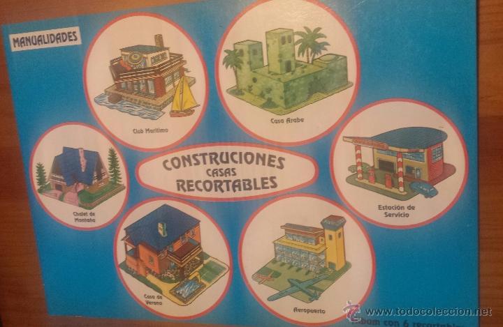 6 RECORTABLES CONSTRUCCIONES. CUENTICOLOR. CHALET. AEROPUERTO. ESTACIÓN DE SERVICIO. 1991 (Coleccionismo - Recortables - Construcciones)
