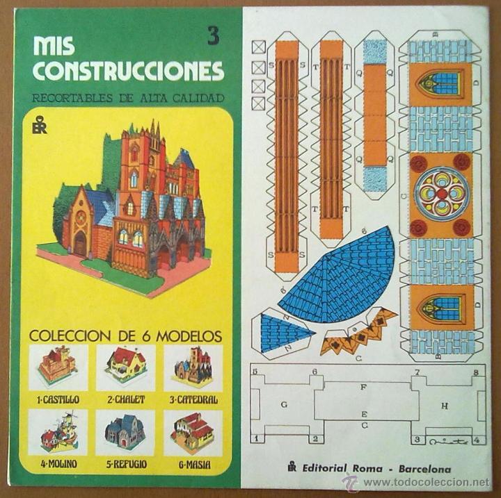 RECORTABLE MIS CONSTRUCCIONES Nº 3 CATEDRAL EDITORIAL ROMA BARCELONA 1977 26 X 26 CM (APROX) (Coleccionismo - Recortables - Construcciones)