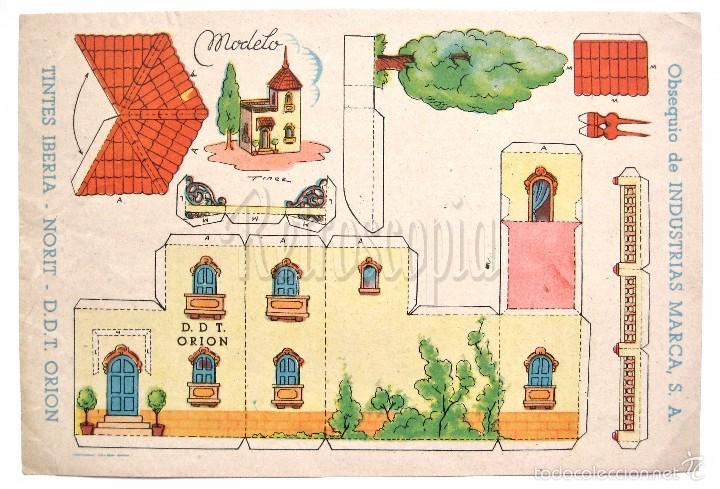 RECORTABLE PUBLICIDAD TINTES IBERIA NORIT DDT ORION INDUSTRIAS MARCA: CASA CHALET PALACETE (Coleccionismo - Recortables - Construcciones)