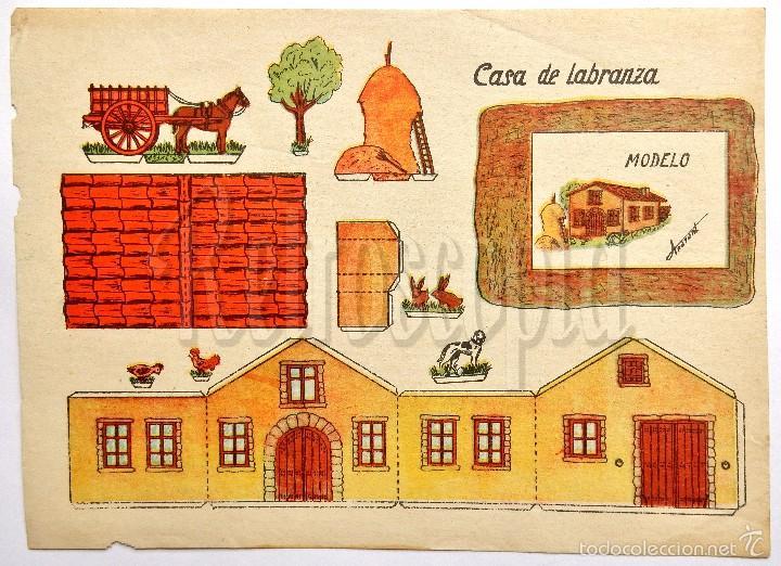 LAMINA RECORTABLE MODELO CASA DE LABRANZA POR ANARANT (21,5 X 16 CM) (Coleccionismo - Recortables - Construcciones)