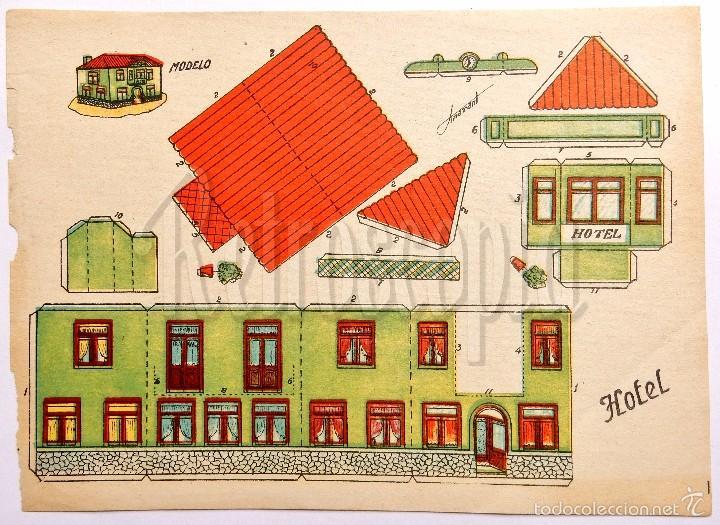 LAMINA RECORTABLE MODELO HOTEL POR ANARANT (21,5 X 16 CM) (Coleccionismo - Recortables - Construcciones)