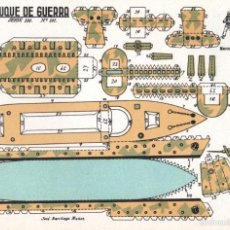 Coleccionismo Recortables: RECORTABLE BUQUE DE GUERRA VOLUMÉTRICO CONSTRUCCIONES EL SOLDADO SERIE 100 NÚM 101 ORIGINAL AÑOS 50. Lote 17102014