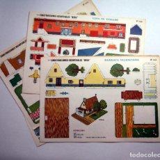 Coleccionismo Recortables: 5 LAMINAS RECORTABLES CONTRUCCIONES BOGA AÑOS 70. Lote 74008123