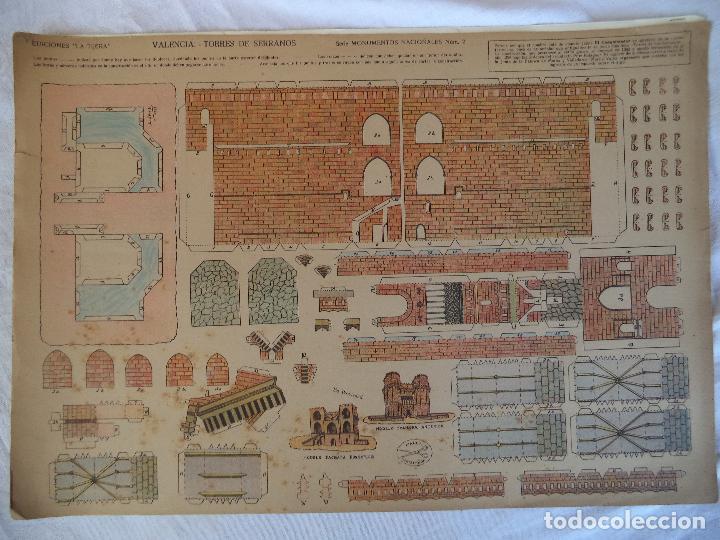 LA TIJERA MONUMENTOS NACIONALES TORRES DE SERRANOS VALENCIA ORIGINAL (Coleccionismo - Recortables - Construcciones)