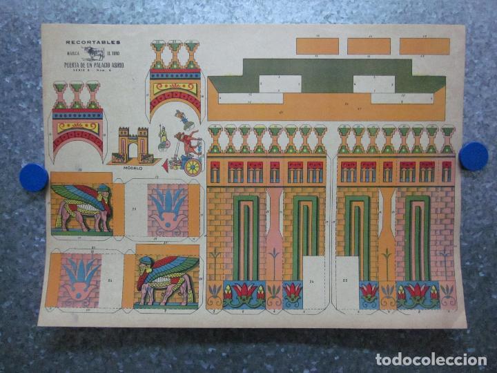 RECORTABLE PUERTA DE UN PALACIO ASIRIO. SERIE B, Nº 6. MARCA EL TORO. AÑOS 40 (Coleccionismo - Recortables - Construcciones)