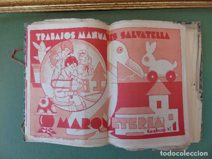 COLECCIÓN, TRABAJOS MANUALES DE MARQUETERÍA SALVATELLA. DEL Nº 1 AL Nº 8. CON CARPETA ANTIGUA (Coleccionismo - Recortables - Construcciones)