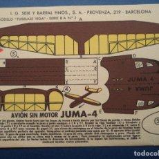Coleccionismo Recortables: RECORTABLE SEIX BARRAL.AVION SIN MOTOR JUMA-4. Lote 109493327