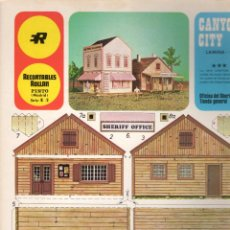 Coleccionismo Recortables: RECORTABLE CANYON CITY (CIUDAD DEL OESTE) BANCO E IMPRENTA. EDIT. ROLLAN 1973. Lote 115526123