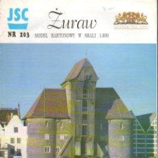 Coleccionismo Recortables: RECORTABLE ZURAW. GRAN GRUA EN GANDSK. POLONIA. 1996. Lote 118106567