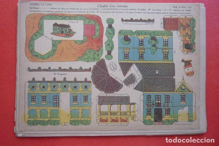 'CHALET CON TORREON'. EDICIONES LA TIJERA SERIE 10 Nº 208. TAMAÑO 22,5X32,5 CM (Coleccionismo - Recortables - Construcciones)
