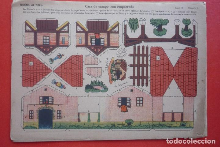 'CASA DE CAMPO CON EMPARRADO'. EDICIONES LA TIJERA SERIE 10 Nº 51. TAMAÑO 22,5X32,5 CM (Coleccionismo - Recortables - Construcciones)