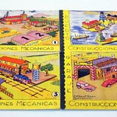 Coleccionismo Recortables: CONSTRUCCIONES MECANICAS. 4 RECORTABLES. IMPECABLES. PUERTO, AEROPUERTO, GARAJE Y ESTACION. ED ROMA. Lote 136193210