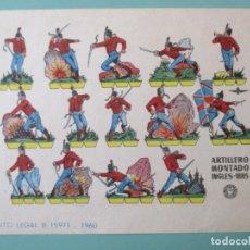 Coleccionismo Recortables: RECORTABLES 1960. ARTILLERO MONTADO. INGLÉS 1885. 17 X 12 CM. Lote 141554414