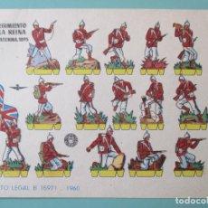 Coleccionismo Recortables: RECORTABLES 1960. 2º REGIMIENTO DE LA REINA INGLATERRA 1895. 17 X 12 CM. Lote 141554714