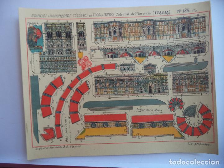 HERNANDO Nº 185M CATEDRAL DE FLORENCIA ITALIA EDIFICIOS Y MONUMENTOS CELEBRES DE TODO EL MUNDO (Coleccionismo - Recortables - Construcciones)