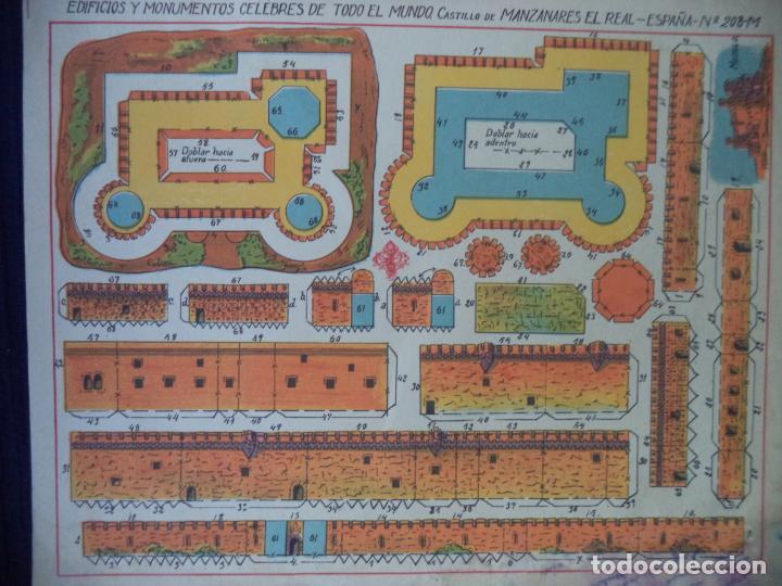 HERNANDO CASTILLO MANZANARES DEL REAL ESPAÑA 208 MEDIFICIOS Y MONUMENTOS CELEBRES DE TODO EL MUNDO (Coleccionismo - Recortables - Construcciones)