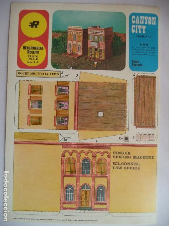 Coleccionismo Recortables: ROLLAN CANYON CITY Nº 7 2 HOJAS DE 33X23 CM BANCO IMPRENTA - Foto 2 - 152144890
