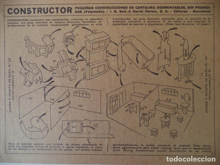 Coleccionismo Recortables: CONSTRUCTOR 4 HOJAS Nº 35 Y 36COCINA Y CUARTO DE BAÑO SEIX BARRAL 33X24 CM - Foto 3 - 170178908