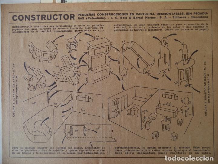 Coleccionismo Recortables: CONSTRUCTOR 4 HOJAS Nº 35 Y 36COCINA Y CUARTO DE BAÑO SEIX BARRAL 33X24 CM - Foto 4 - 170178908