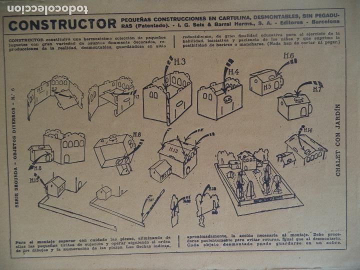 Coleccionismo Recortables: CONSTRUCTOR SEIX&BARRAL SERIE 2ª Nº 8 CHALET CON JARDIN - Foto 2 - 171489129