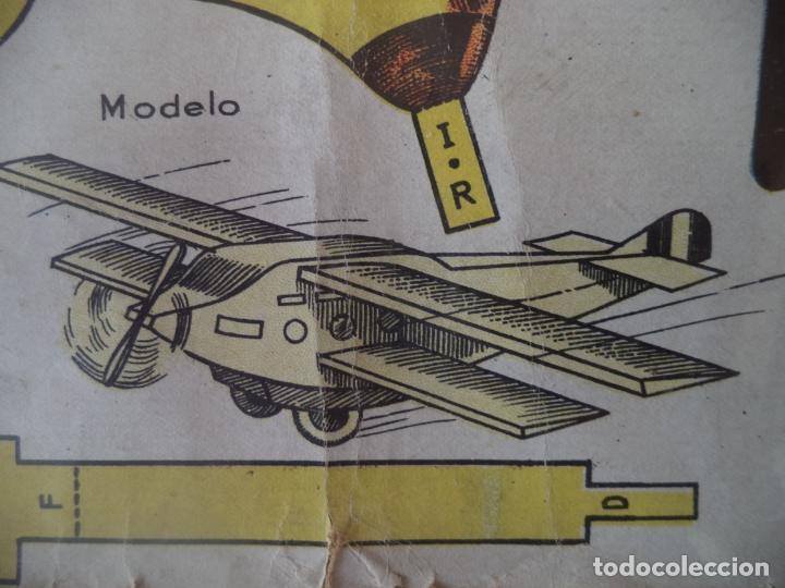 RECORTABLE:BIPLANO MODELO 1937 Nº1 DIMENSIONES 53X31 CM BANDERA REPUBLICANA EPOCA GUERRA CIVIL (Coleccionismo - Recortables - Construcciones)