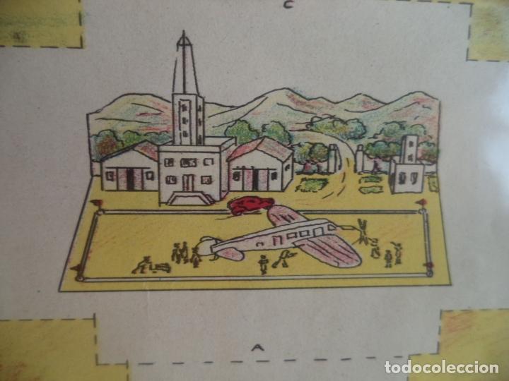 RECORTABLE CREACIONES KIKI CAMPO DE AVIACION MODELO GRANDE Nº1 64X48 CM (Coleccionismo - Recortables - Construcciones)