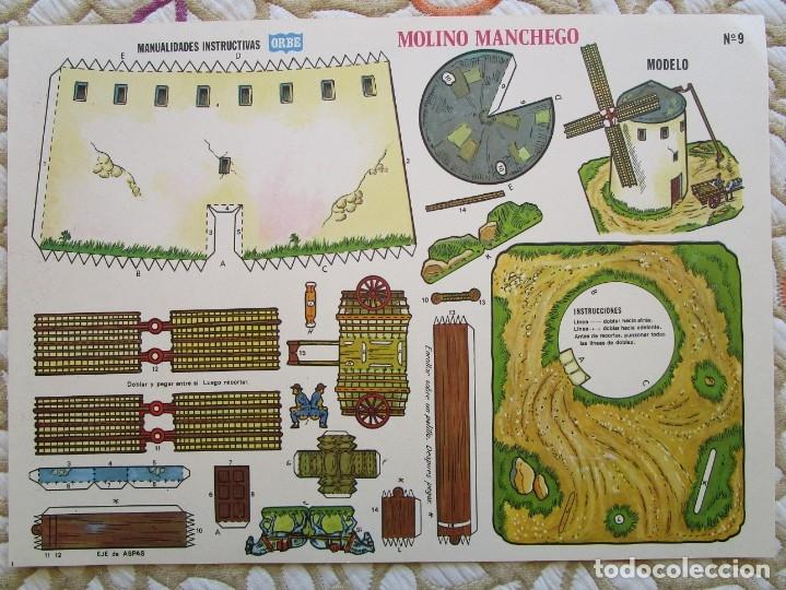 RECORTABLE - MANUALIDADES INSTRUCTIVAS - ORBE - MOLINO MANCHEGO - 34X25 CM. (Coleccionismo - Recortables - Construcciones)