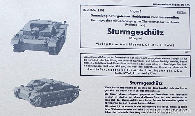 LOTE DOS GRANDES PLIEGOS STURMGESCHÜTZ WWII (TANQUE SEGUNDA GUERRA MUNDIAL) (Coleccionismo - Recortables - Construcciones)