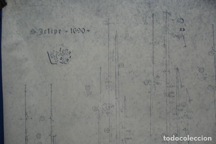 Coleccionismo Recortables: ANTIGUO PLANO DESPIECE DE LA MAQUETA DEL BARCO SAN FELIPE 1690 - Foto 2 - 182537665