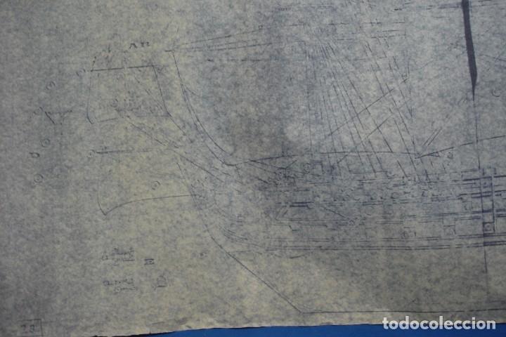 Coleccionismo Recortables: ANTIGUO PLANO DESPIECE DE LA MAQUETA DEL BARCO SAN FELIPE 1690 - Foto 3 - 182539167