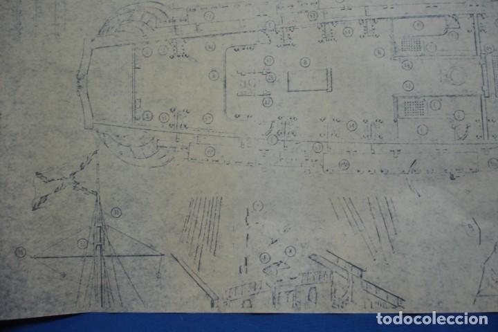 Coleccionismo Recortables: ANTIGUO PLANO DESPIECE DE LA MAQUETA DEL BARCO SAN FELIPE 1690 - Foto 3 - 182591278