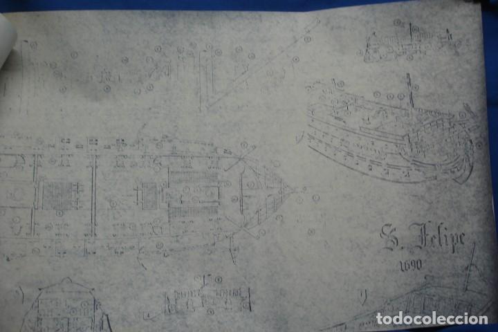 Coleccionismo Recortables: ANTIGUO PLANO DESPIECE DE LA MAQUETA DEL BARCO SAN FELIPE 1690 - Foto 4 - 182591278